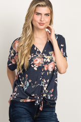 Navy Blue Floral Button Tie Front Top