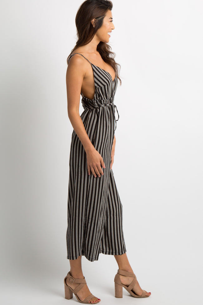 Black Striped Sash Tie Cropped Jumpsuit
