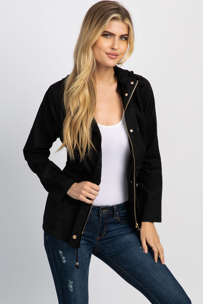 Black Hooded Drawstring Utility Jacket