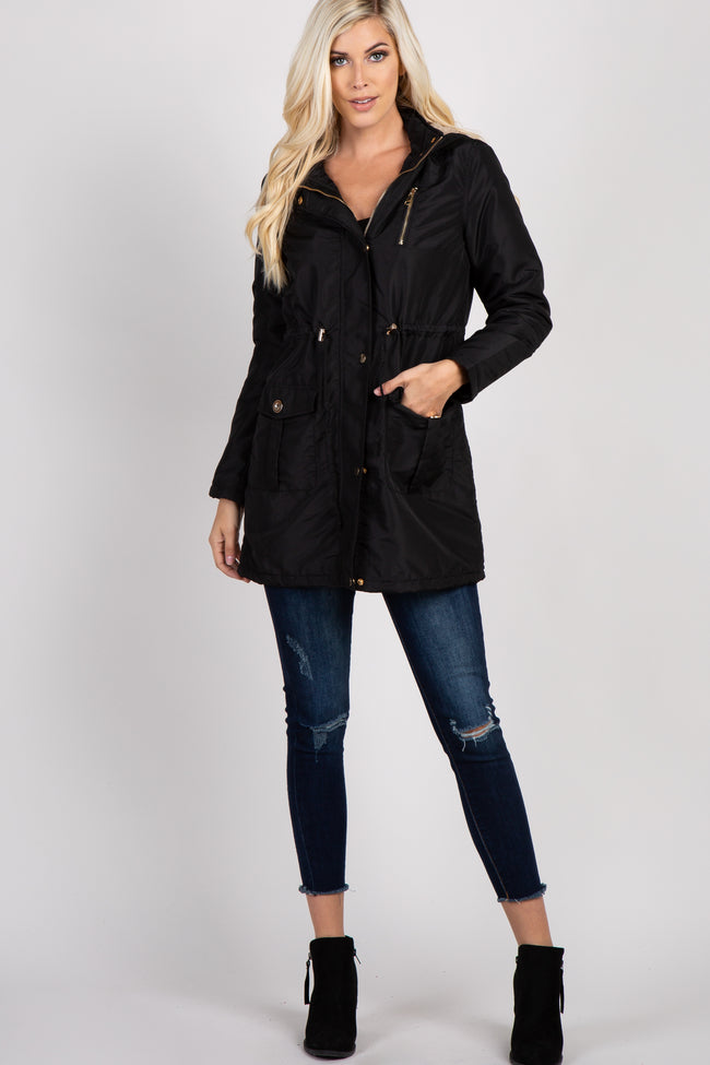 Black Hooded Zip Up Drawstring Waist Jacket