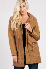 Camel Hooded Zip Up Drawstring Waist Maternity Jacket