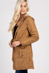 Camel Hooded Zip Up Drawstring Waist Jacket