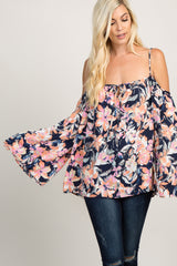 Navy Floral Cold Shoulder Maternity Top