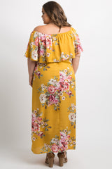 Yellow Floral Off Shoulder Ruffle Plus Maternity Maxi