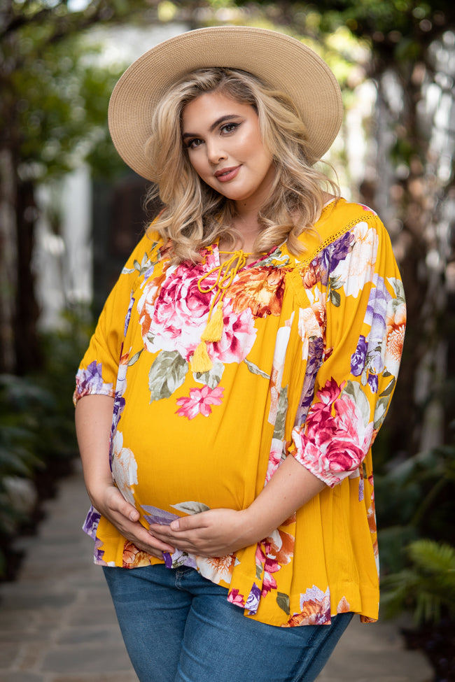 Yellow Floral Crochet Tassel Tie Plus Maternity Blouse