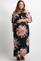 Navy Blue Floral Off Shoulder Plus Maternity Maxi Dress
