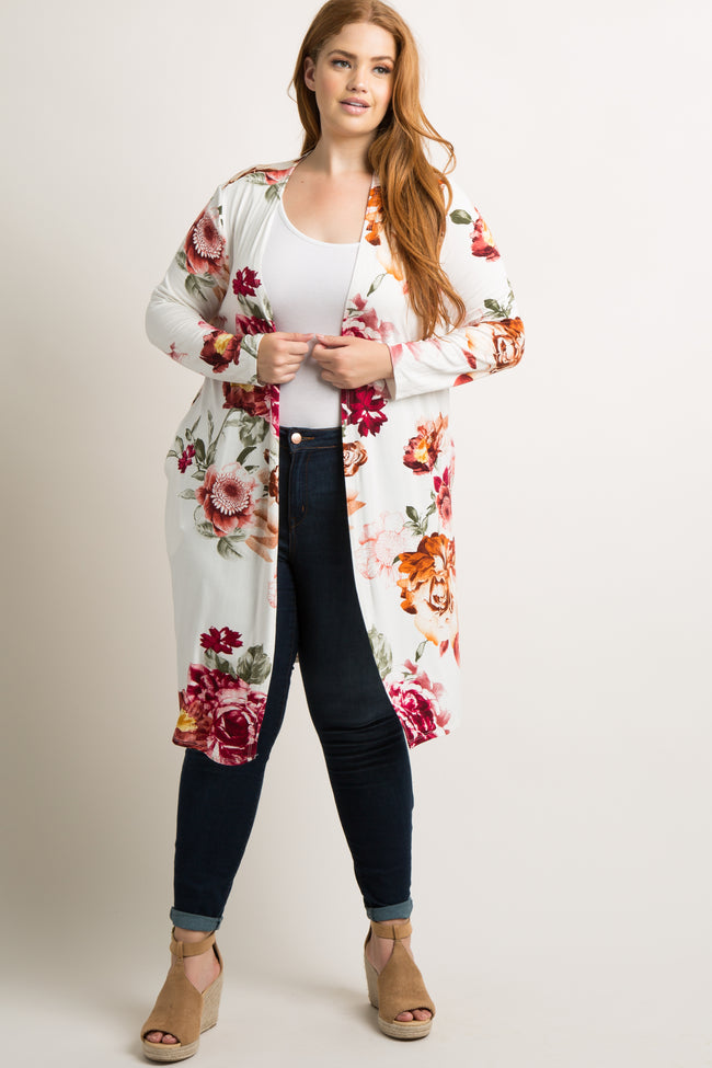 White Floral Long Sleeve Plus Cardigan