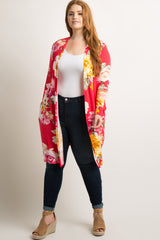 Red Floral Long Sleeve Maternity Plus Cardigan