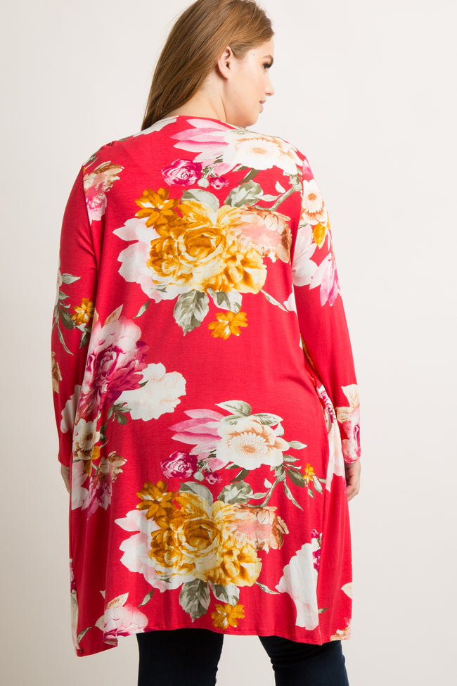 Red Floral Long Sleeve Plus Cardigan