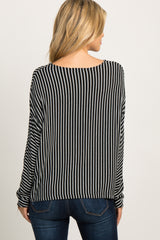 Black Striped Knit Dolman Sleeve Top