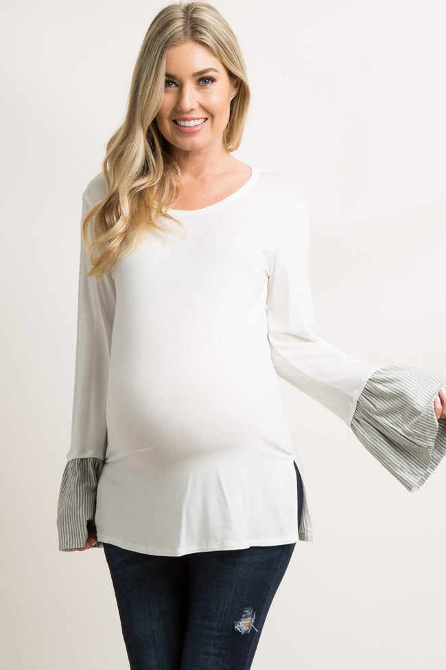 Ivory Long Sleeve Striped Accent Maternity Top