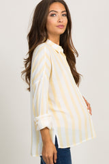 Yellow Striped Button Up Pocket Accent Maternity Top