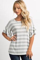Grey Striped Layered Ruffle Sleeve Maternity Top