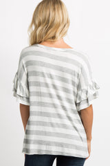 Grey Striped Layered Ruffle Sleeve Top