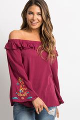 Burgundy Embroidered Sleeve Off Shoulder Maternity Top
