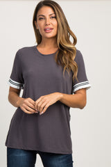 Charcoal Grey Colorblock Striped Ruffle Sleeve Top