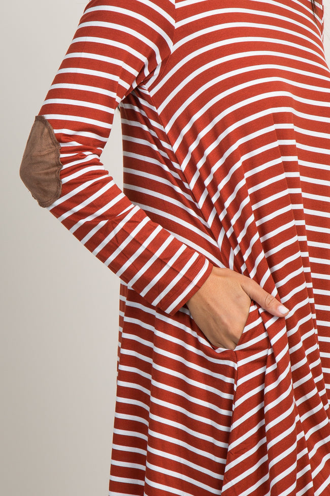 Rust Striped Elbow Patch Dress