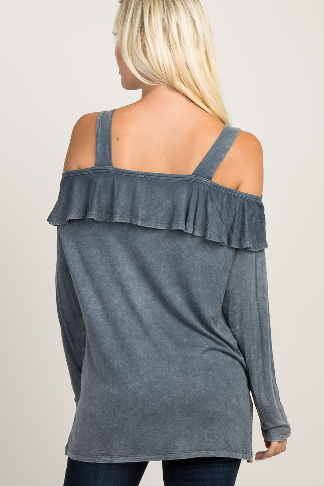 Charcoal Mineral Wash Open Shoulder Top