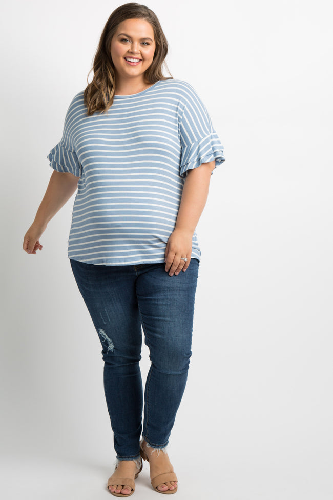 Blue Striped Layered Sleeve Plus Maternity Top