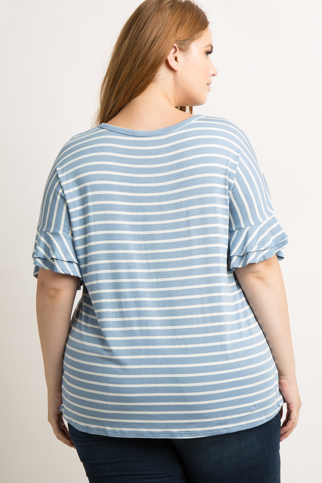 Blue Striped Layered Sleeve Plus Top