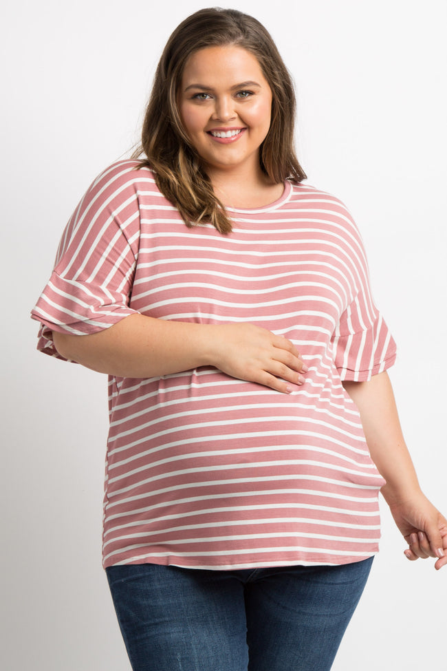 Mauve Striped Layered Sleeve Plus Maternity Top