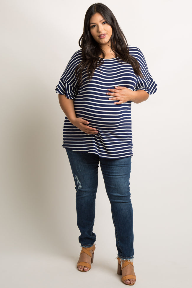 Navy Blue Striped Layered Sleeve Plus Maternity Top