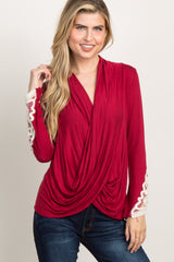 Burgundy Draped Front Crochet Sleeve Top