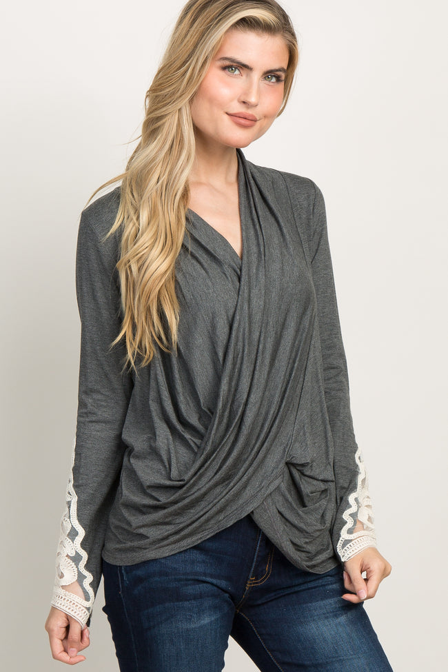 Charcoal Grey Draped Front Crochet Sleeve Maternity Top