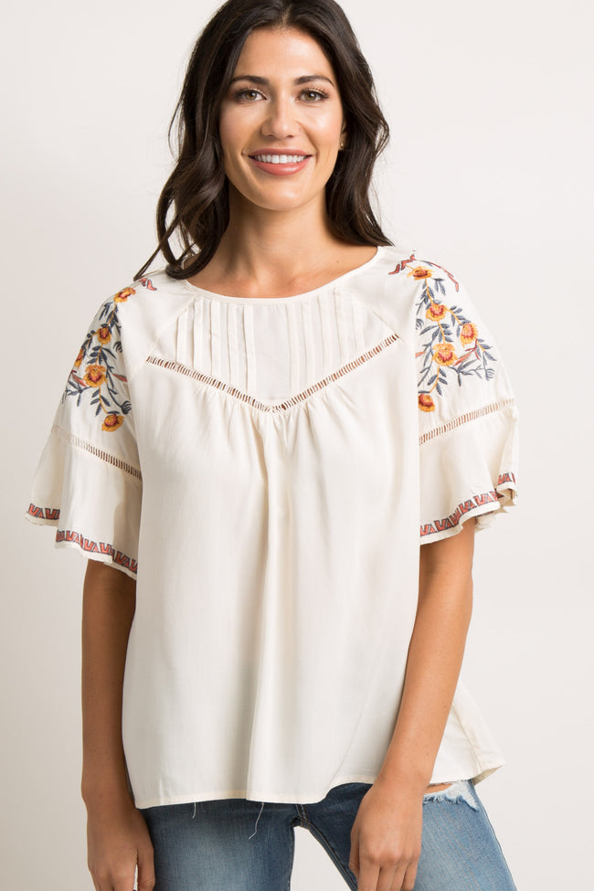 Beige Embroidered Crochet Accent Maternity Blouse