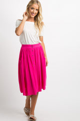 Fuchsia Solid Button Down Skirt