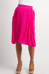 Fuchsia Solid Button Down Maternity Skirt