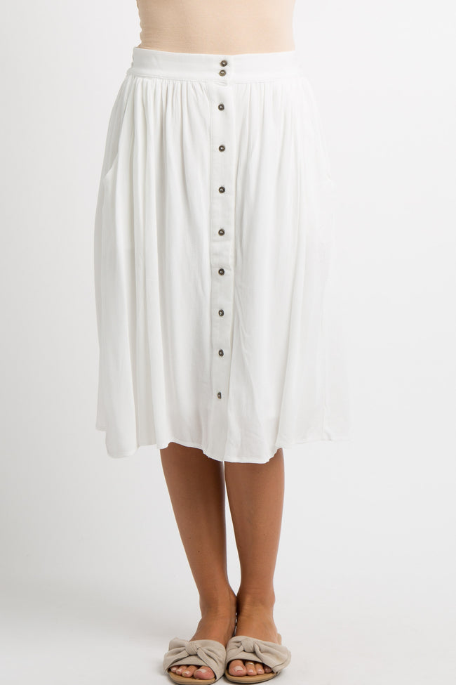 White Solid Button Down Skirt