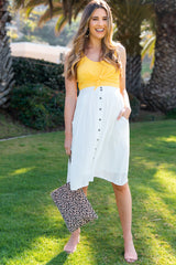 White Solid Button Down Maternity Skirt