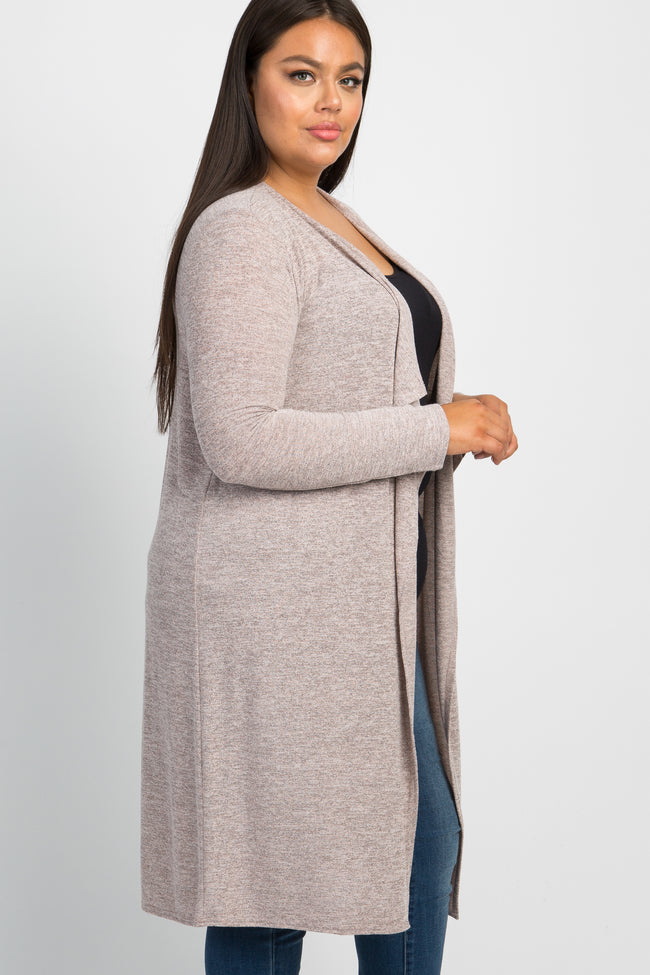 Heather Mauve Draped Plus Cardigan