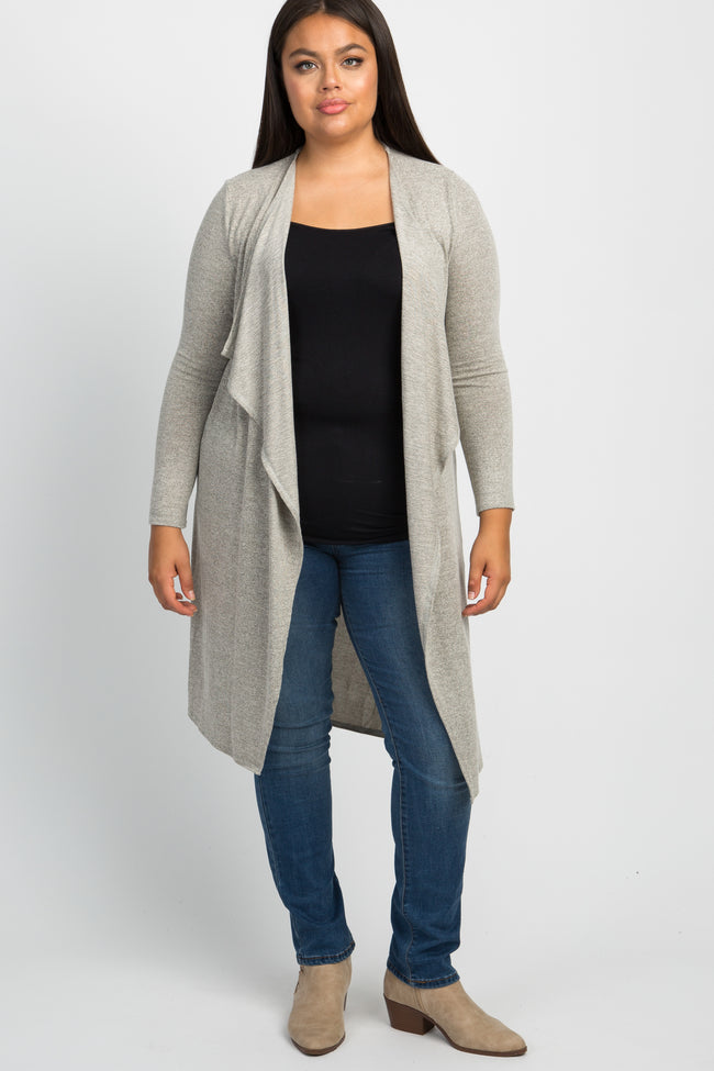 Heather Beige Draped Plus Maternity Cardigan