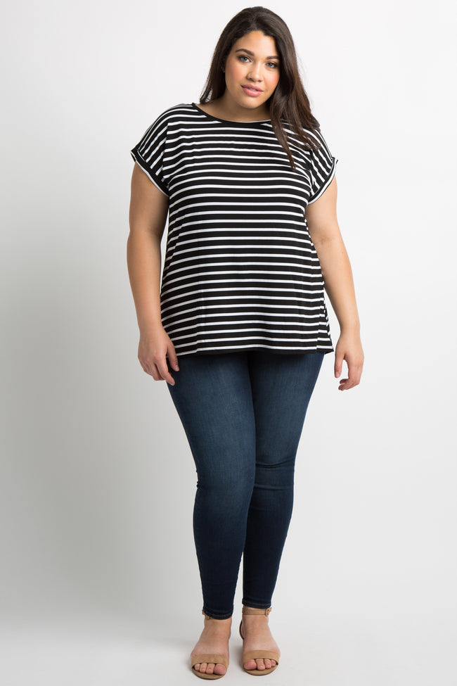 Black Striped Short Sleeve Dolman Plus Top