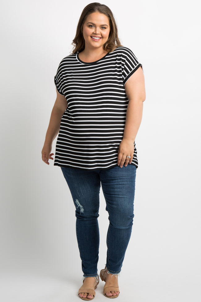 Black Striped Dolman Plus Maternity Top