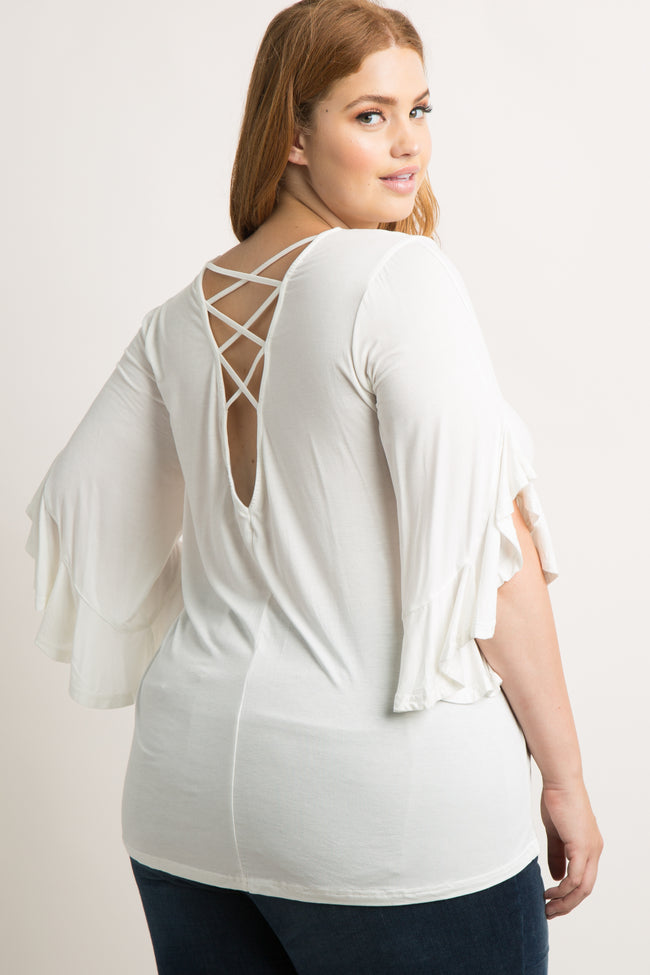 White Crisscross Back Bell Sleeve Plus Maternity Top