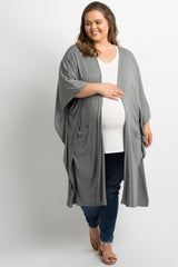 Grey Pocket Front Plus Maternity Poncho Cardigan