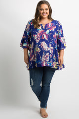 Royal Blue Floral Keyhole Bell Sleeve Plus Maternity Top