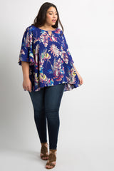 Royal Blue Floral Keyhole Bell Sleeve Plus Top