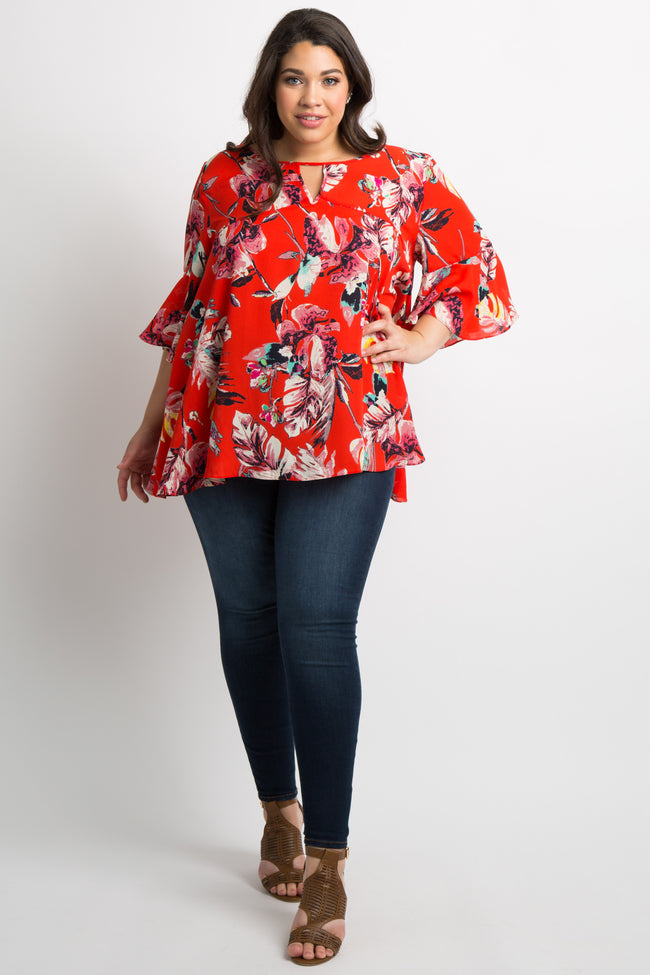 Red Floral Keyhole Bell Sleeve Plus Top