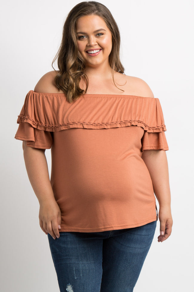 Rust Braided Trim Off Shoulder Plus Maternity Top