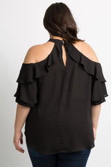 Black Chiffon Ruffle Cold Shoulder Plus Top