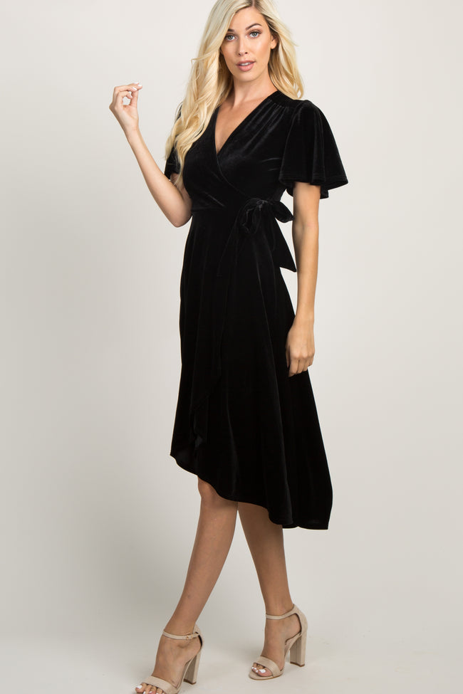 Black Velvet Wrap Tie Maternity Midi Dress