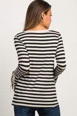 Black Striped Bell Sleeve Tie Maternity Top