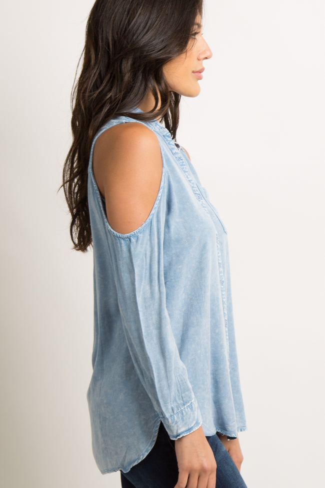 Blue Faded Cold Shoulder Button Down Top