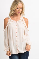 Light Pink Cold Shoulder Button Front Top