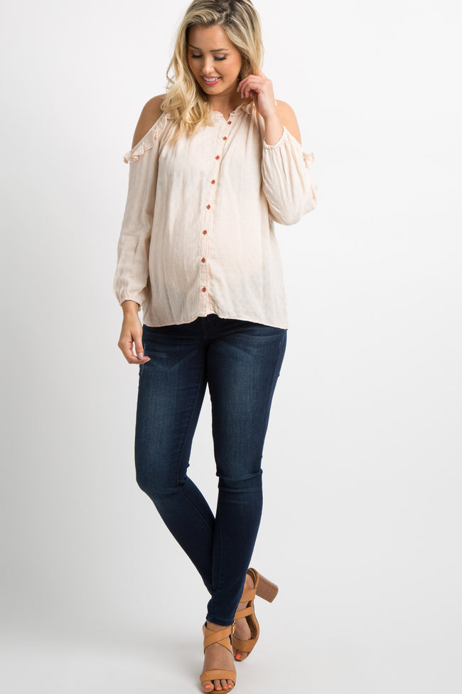 Light Pink Cold Shoulder Button Front Maternity Top