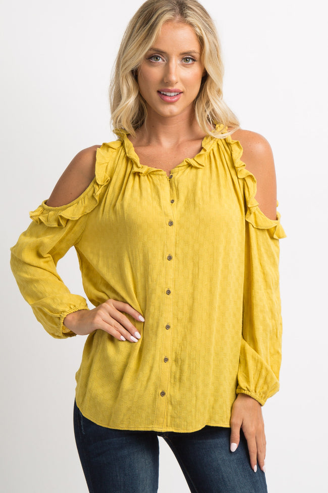 Yellow Ruffle Cutout Button Maternity Top